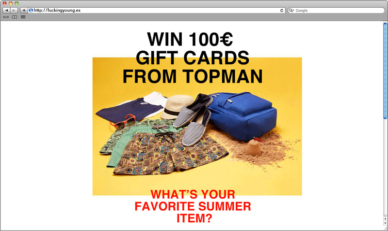 Client: Topman Description: Fucking Young! has teamed up with TOPMAN to give away a 100€ gift card to two lucky guys.