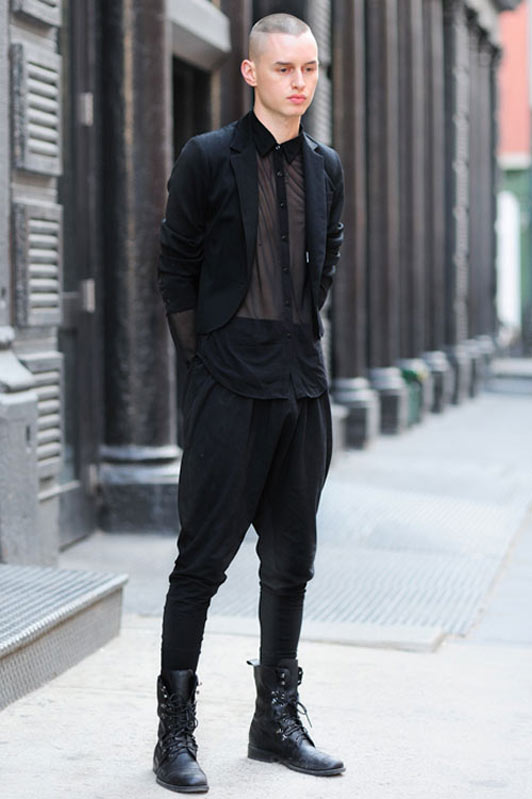 Jeffrey (21 - Model) wears vintage Jacket, Shirt by American Apparel, vintage Pants and vintage italian Shoes