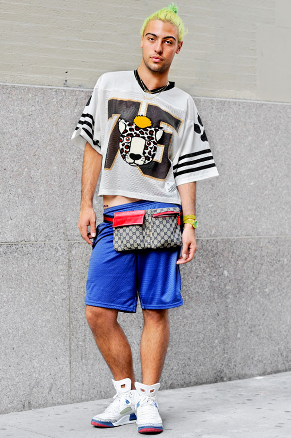 Matthew (21 - DJ) T-shirt by Jeremy Scott, Watch by Jeremy Scott, Shorts by Champion, Shoes by Nike, Bracelet by Mizuki, Necklace: vintage