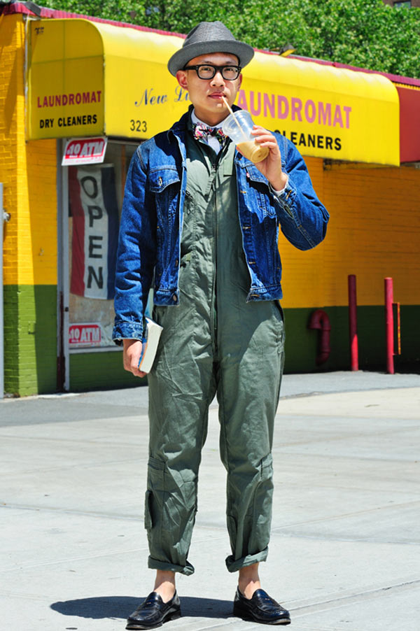 Michael (31 - writer) wears Hat by Borsalino, Levi's Jacket, Coveralls: vintage US army, Shirt and tie: Benjamin Bixby and Shoes: G.H. Bass & Company X Opening Ceremony