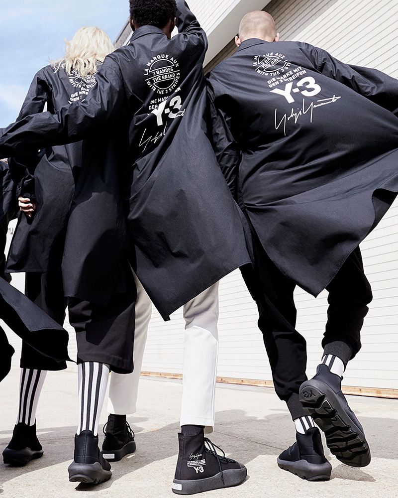 daa978bec4d9f The stark imagery complements the simple graphic emblazoned across the  collection  a stacked logo motif combining the Y-3 logo